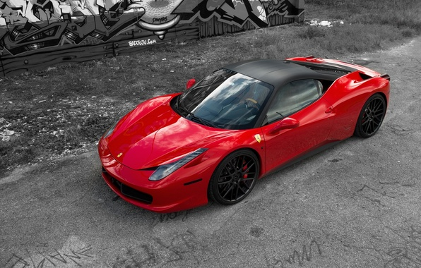 Picture red, reflection, red, ferrari, Ferrari, side view, Italy, 458 italia, aernie drives