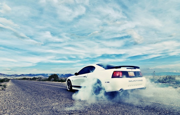 Picture coupe, Mustang, road, ford mustang, burnout, rechange