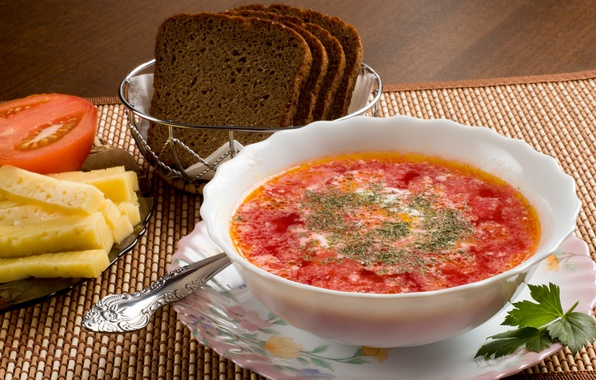 Picture greens, food, cheese, plate, bread, spoon, tomato, soup, sour cream