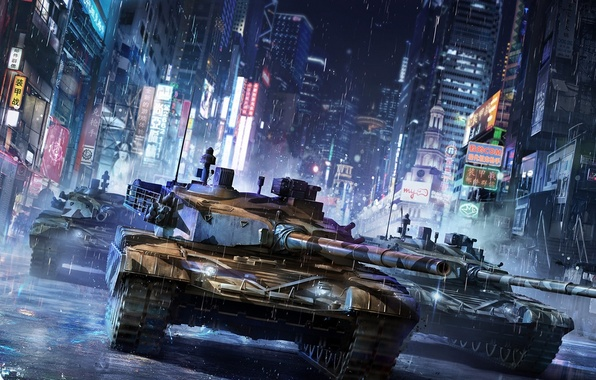 Picture night, the city, street, art, tank, armored warfare, chinese tank