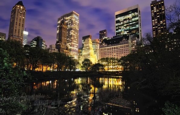 Picture trees, clouds, the city, lights, lake, reflection, overcast, building, home, New York, backlight, beautiful, night …
