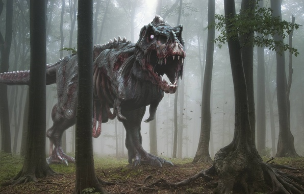Picture forest, trees, fear, mouth, zombies, Dinosaur