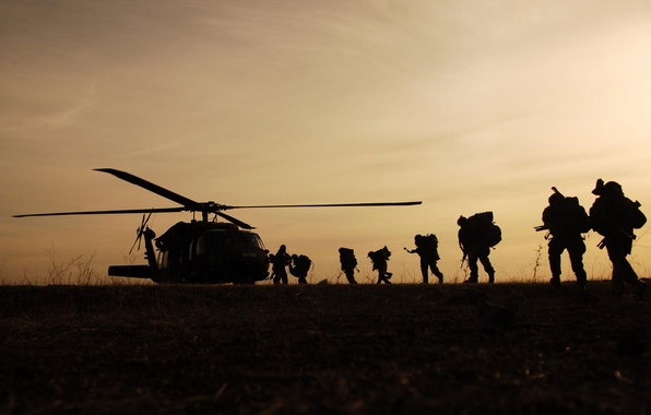 Picture helicopter, soldiers, landing, military, Night Hawk