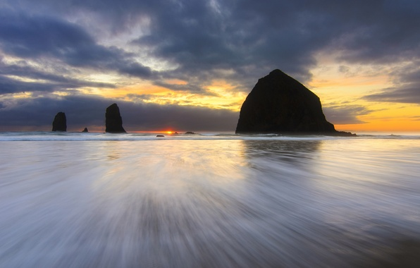 Picture beach, the sky, the sun, sunset, clouds, the ocean, rocks, shore, the evening, Oregon, USA