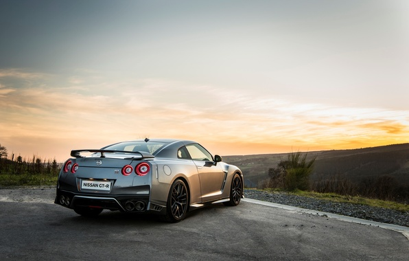 Picture car, wallpaper, silver, Nissan, GT-R, car, rear view, Nissan, handsome