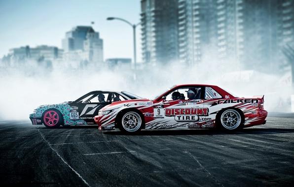 Picture sport, smoke, nissan, drift, drift, cars, Nissan