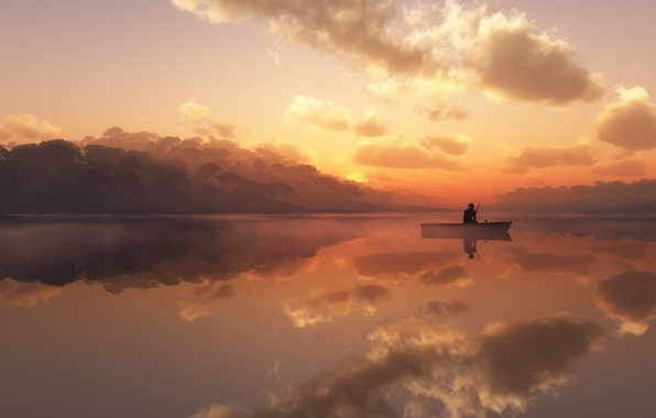 Picture fog, lake, boat, fisherman