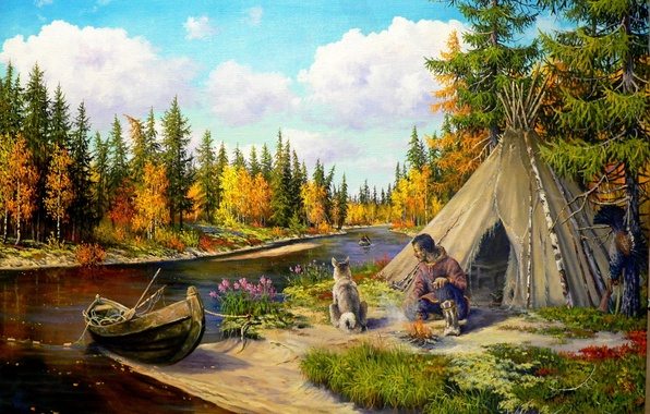 Picture nature, river, boat, dog, art, taiga, hunter, Andrey Lyakh