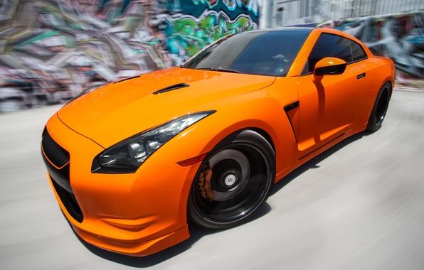 Picture graffiti, speed, blur, GTR, Orange, Nissan, the front, Tuning, R35