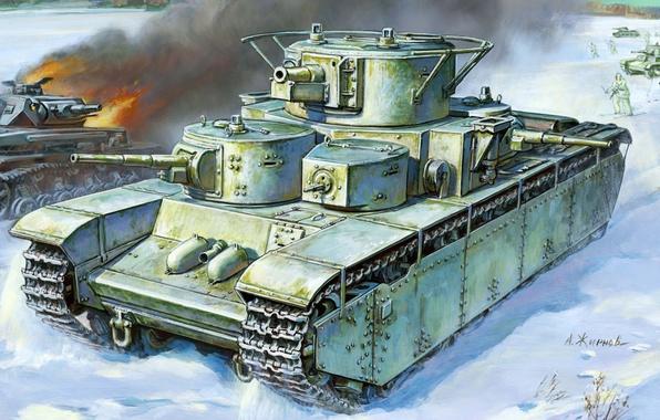 Picture winter, gun, art, artist, tank, USSR, battle, guns, WWII, lined, heavy, German, Soviet, left, caliber, …