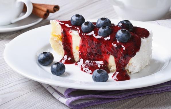 Picture berries, blueberries, cake, cake, cream, dessert, cakes, sweet, sweet, dessert, berries, piece