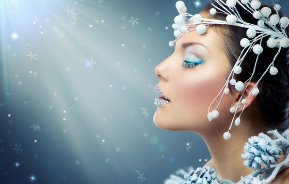 Picture frost, eyes, snowflakes, branches, face, glare, berries, holiday, new year, makeup, brunette, hairstyle, outfit, profile, …