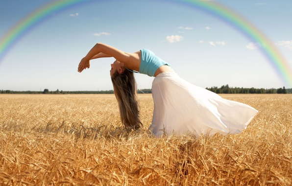 Picture wheat, field, the sky, leaves, girl, trees, nature, pose, background, movement, tree, widescreen, Wallpaper, mood, …