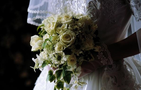 Picture flowers, bouquet, dress, the bride, veil, wedding
