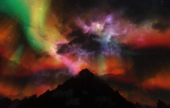 Picture stars, night, rendering, Northern lights, Aurora Borealis