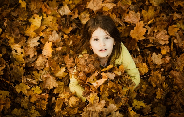 Picture autumn, leaves, children, smile, yellow, mood, mood, foliage, girls, beauty, beauty, girl, beauty, beauty, smile, ...
