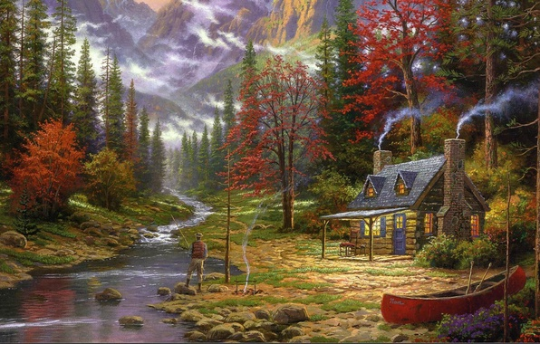 Picture forest, mountains, house, river, boat, figure, picture, fisherman, ate, art, drawings, pictures, hut, painting, the …