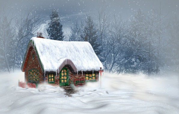 Picture winter, snow, trees, landscape, mountains, nature, house, Christmas, New year, Christmas, New Year