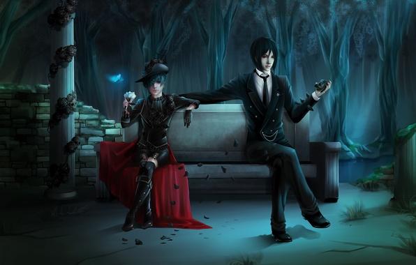 Picture butterfly, rose, skull, boy, petals, the demon, art, shop, guy, column, kuroshitsuji, dark Butler, sebastian …
