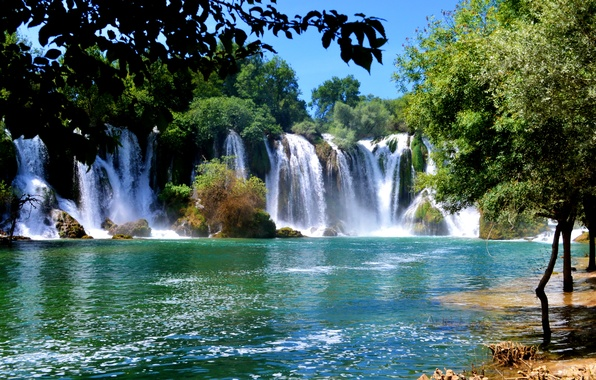 Picture trees, river, stones, waterfalls, Sunny, Bosnia and Herzegovina, Kravice