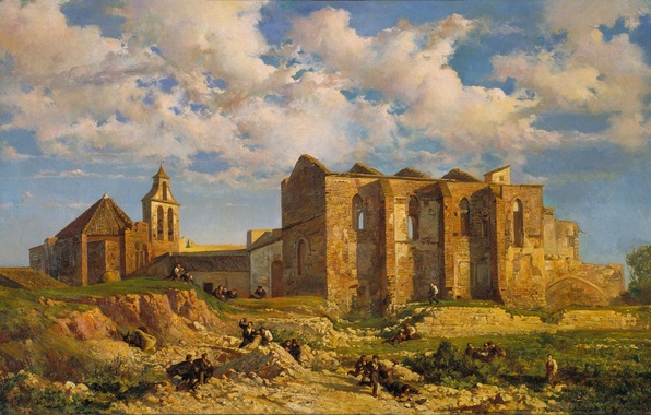 Picture the sky, clouds, landscape, people, picture, Ramon Marti-and-Alsina, The ruins of the Church of Sant …