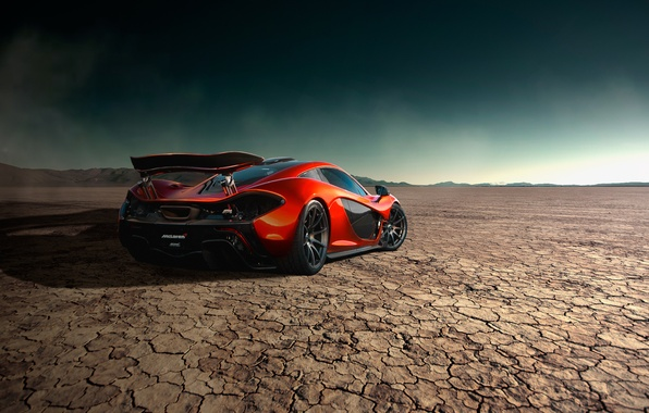 Picture McLaren, Orange, Storm, Road, Supercar, Desert, Rear