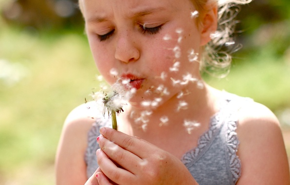 Picture mood, dandelion, girl