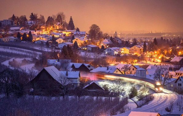 Picture winter, night, lights, home, Germany, slope, Bayern, Hermansberg
