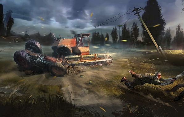 Picture soldiers, tractor, Chernobyl, Stalker, harvester, S. T. A. L. K. E. R. 2