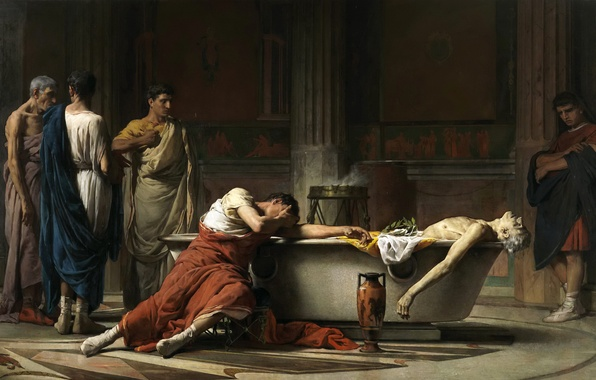 Picture picture, history, genre, The Death Of Seneca, Manuel Dominguez Sanchez