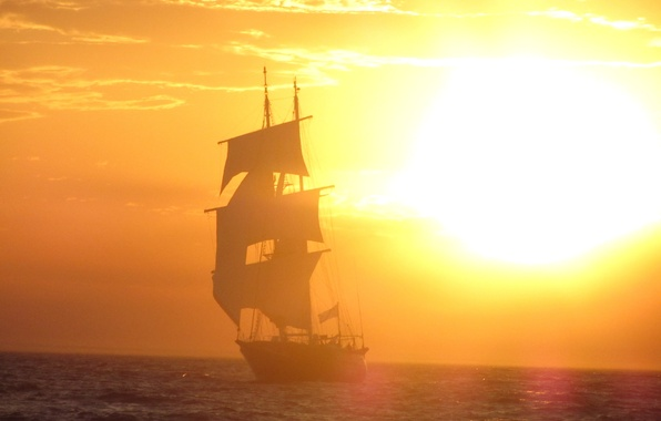 Picture the sun, the way, the ocean, sailboat