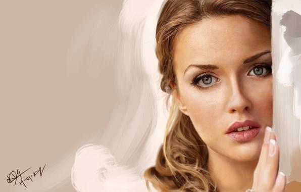 Picture girl, face, hand, portrait, art, angle, Krishan de Silva