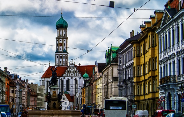 Picture tower, home, Germany, Bayern, area, Cathedral, fountain, sculpture, Augsburg