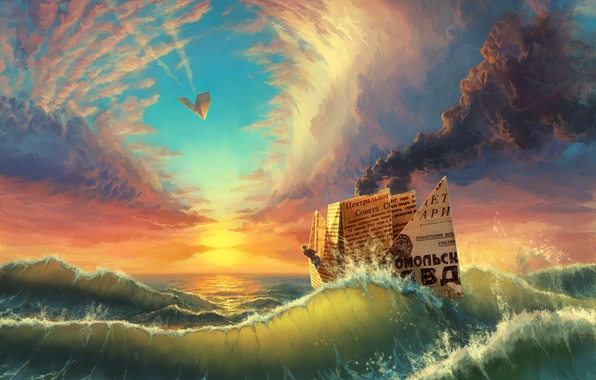 Picture sea, wave, the sky, clouds, sunset, ship, couples, newspaper, boat, paper airplane, paper boat
