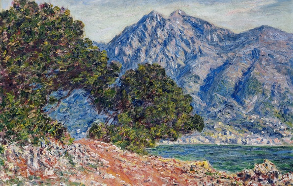 Photo wallpaper Claude Monet, picture, sea, mountains, Cape Martin, trees, landscape