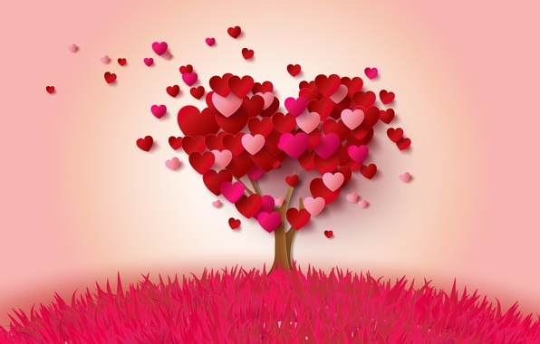 Picture tree, heart, hearts, love, heart, pink, romantic