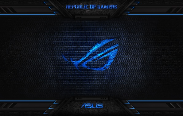 Picture blue, asus, rog, republic, gamers