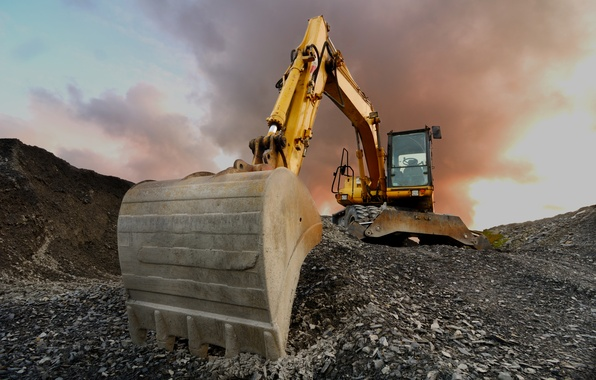 Picture earth, shovel, excavator, seen almost face