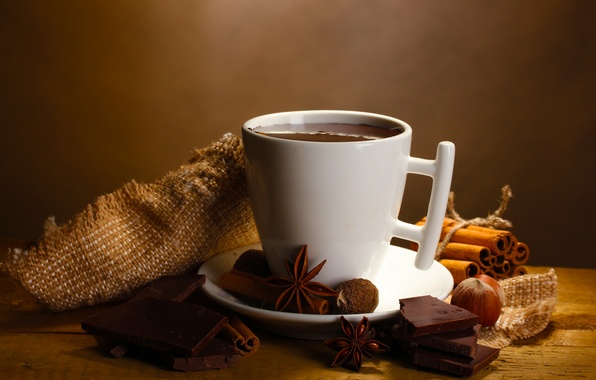 Picture hot, chocolate, drink, nuts, cinnamon, slices, spices, star anise, Anis