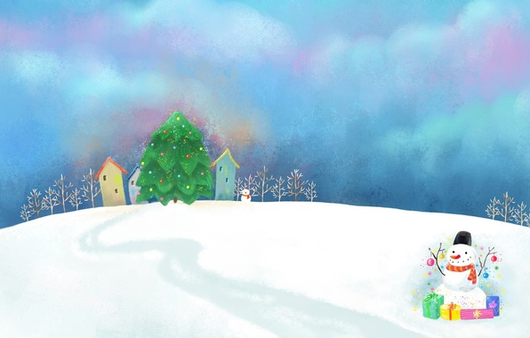 Picture clouds, snow, decoration, figure, the snow, gifts, houses, snowman, tree, path