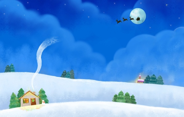Picture clouds, night, holiday, hills, the moon, smoke, figure, stars, the snow, house, snowman, team, sleigh, …