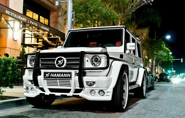 Picture Mercedes, white, hamann, tuning, night, street, g55