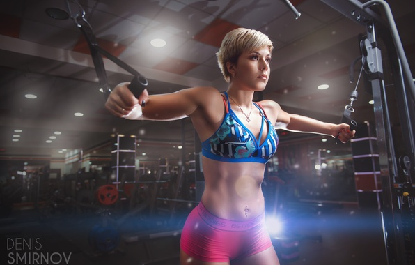 Picture girl, figure, piercing, blonde, shorts, sports, fitness, bra, trainer, the gym, exercise