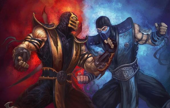 Picture Scorpio, fire, clash, ice, hatred, ninja, fists, Mortal Kombat, scorpion, fight, mortal Kombat, sub-zero, rivals, …