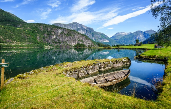 Picture water, mountains, boat, Norway, Norway, the fjord, Sogn og Fjordane, Stryn, Sogn and Fjordane, Stryn, …