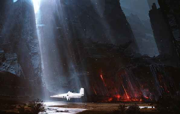 Picture light, mountains, fiction, rocks, ship, the suit, travelers, spaceship