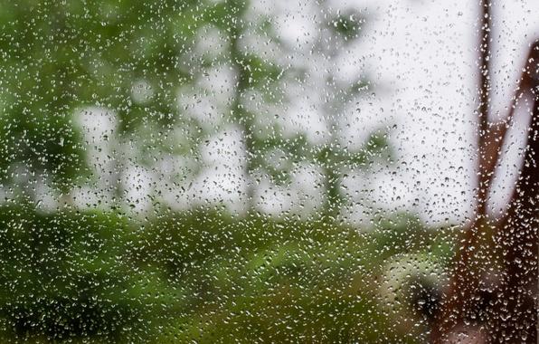 Picture glass, water, drops, rain, blur