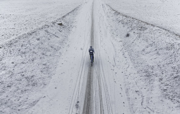 Picture road, snow, bike