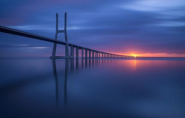 Picture the sky, the sun, bridge, coast, Portugal, Lisbon