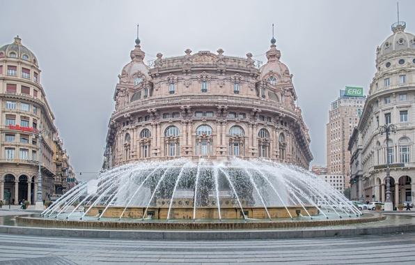 Picture building, area, Italy, fountain, Italy, Genoa, Genoa